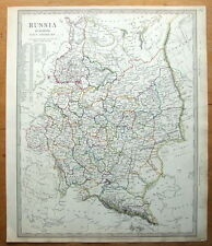 RUSSIA, ESTONIA,LATVIA,POLAND,BELARUS,UKRAINE etc original antique map 1840