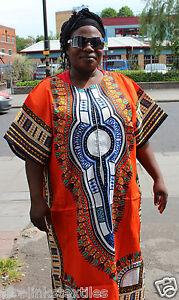 Dashiki African Poncho Tribal Long Shirt Maxi Kaftan 100% Cotton Bright Colors