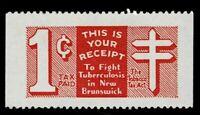 Canada Revenue New Brunswick Tobacco Tax Stamp van Dam NBT7a perf 11.75 Cat. $75