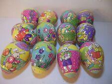 Vintage Vibrant Set Of 12 Decorative Easter Eggs Paper Mache Decoupage In Box