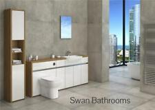 OAK / WHITE GLOSS BATHROOM FITTED FURNITURE WITH TALL UNIT 2300MM