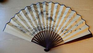 Fächer chinesisch bemalt Kraniche Holz Seidenpapier 40 cm in Schmuckschachtel