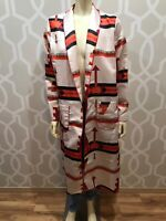 JT Fashions Tribal Long Sleeve Duster Coat Sz L Boho Multicolor Orange Ivory Nwt