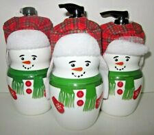3 Bath & Body Works Deep Cleansing Hand Soap Figural SnowBoy Winter Candy Apple