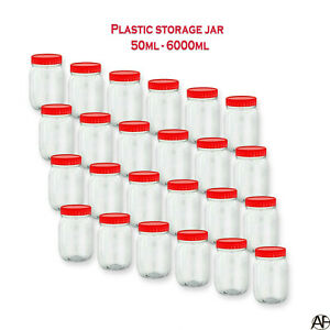 Clear Plastic Storage Jar Screw Top Lids Herbs Spices Containers Canisters Pots