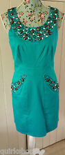 BUTTERFLY by MATTHEW WILLIAMSON turquoise beaded STRETCH COTTON dress 12 40 NEW