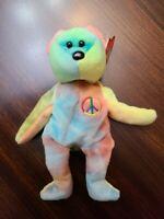 Rare! Peace Bear 1996 - Retired TY Beanie Baby With Errors! near Mint