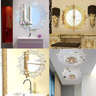 Removable 3D Feather Mirror Wall Sticker Home Room Decal Mural Art DIY Decor