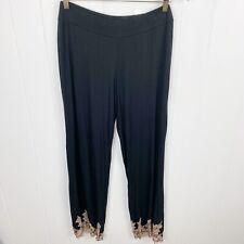 Soma Black Lounge Pajama Pants Lace Trim Wide Leg S Small
