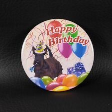 "3"" Round Scottie Button HAPPY BIRTHDAY BALLOONS Scottish Terrier Scotty PIN"
