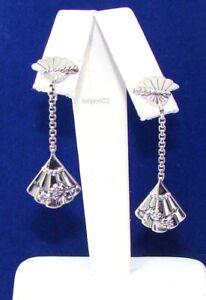 """John Hardy JAI Cherry Blossom Fan Drop Sterling Silver Earrings 1-1/2""""  NIB"""
