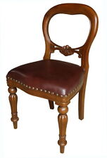 Solid Mahogany Dutch Dining Chair With Brown Leather Balloon Back Chr027