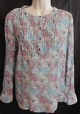5294f061630e6 BODEN Women Size 10 Pintuck Blouse Long Sleeve Blue Multi Color Trees Silk  Blend