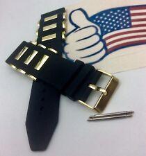24mm Black Rubber Diver Band strap fits INVICTA Russian Gold bullet & Pins.11750