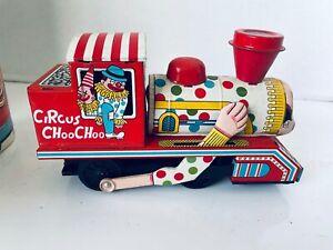 Vintage Friction Drive Daiya Japan Circus Choo Choo Train Engine #753 Tin Toy