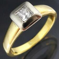 Modern Square Bezel Solid 18k Yellow GOLD DIAMOND SOLITAIRE RING Val=$2035 Sz M