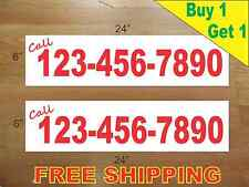 """CUSTOM PHONE NUMBER # Red Text 6""""x24"""" REAL ESTATE RIDER SIGNS Buy 1 Get 1 FREE"""