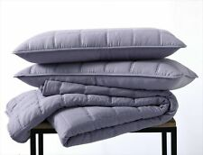 3pc Washed Decorative Square Embroidered Quilt Coverlet Bedspread Set , Purple