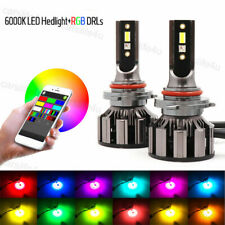 2x 9006 9005 72W Car LED RGB Headlight Bluetooth APP Control Drive Fog Lamp Bulb