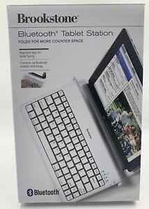 NIB Brookstone Bluetooth Tablet Station White Foldable Compact
