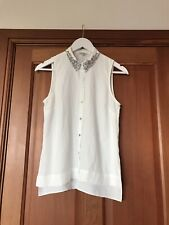 River Island Ivory Blouse Crystal Sparkle Collar Size 6