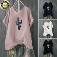Summer Women Casual Blouse Loose Short Sleeve Cactus T Shirt Top Plus Size S-4XL