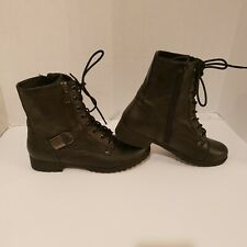 G by Guess Women's Combat Lace up Boots/Booties Size 8 1/2 Moto Zip Up/Buckle