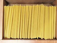 """300 Natural 100% Pure Beeswax Taper Candles ( 8"""") Natural Honey Scent Bulk"""