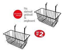 """Only Hangers Slatwall Gridwall Basket 12"""" Long x 6"""" Deep x 6"""" High Black 2pk"""