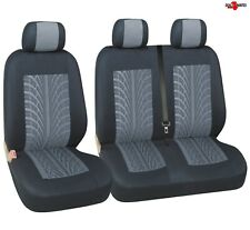 For Ford Transit Transit Custom Tyre Mark Thread Grey  Fabric Van Seat Covers