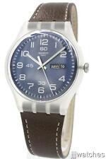 New Swatch Men Daily Friend Brown Genuine Leather DayDate Watch 42mm SUOK701 $75