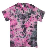 Pink & Black Rainbow TIE DYE T SHIRT Fashion Tye Die Tshirt Festival Retro Tee