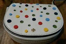Tory Burch Confetti Mini Crossbody Saddle Bag Ivory Leather Multi Color Dots EUC