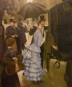 HENRI G 24x20 period OIL PAINTING on flat canvas – Elegant couple by a carriage