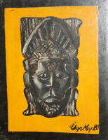 1983 oil painting still life with African mask