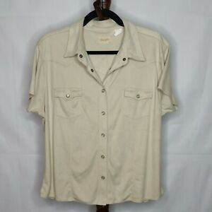 Wrangler women's size L? shirt tan color snap up collared short sleeve 2 pockets