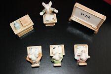 6-pc Set of Ceramic Bunny School: Teacher-3 Students/Desks-White Board-Table