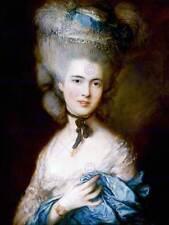 Dipinto ritratto studio Gainsborough Donna in blu Poster Art Print bb12560b