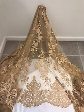 """GOLD MESH EMBROIDERY BRIDAL LACE FABRIC 50"""" WIDE 1 YARD"""