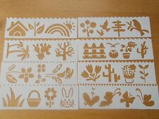 Plastic flowers Leaves Layering Stencils Painting Scrap Writing Cards 8 pc set
