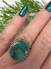Copper in Turquoise 925 Silver Ring Size Q Reiki Pagan Wicca Ethnic Gift Summer