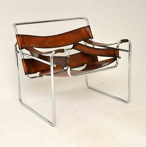 RETRO WASSILY LEATHER & CHROME ARMCHAIR BY MARCEL BREUER VINTAGE 1960's