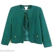 Talbots Green 100% Wool Short Jacket Blazer Women Sz 10 Career