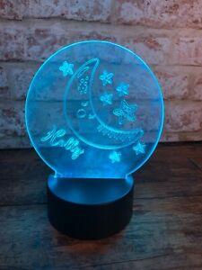 Personalised Stars and Moon LED Colour Change Nightlight   Unique Mood Light