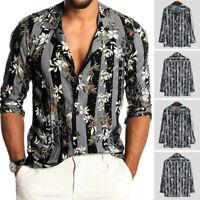 Men's Casual Long Sleeve Hawaiian T Shirts Beach Fancy Dress Shirts Floral Tops