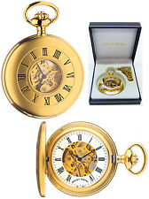 Mount Royal Half Hunter Skeleton Pocket Watch 17 Jewel Matte GP Free Engrave B25