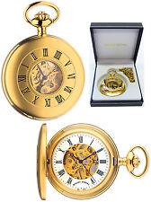 Mount Royal Half Hunter Skeleton Pocket Watch 17 Jewel Matte GP Free Engrave B25