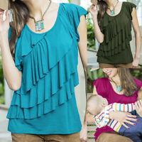 Women Maternity Nursing Snmmer Blouse Wrap Ruffle Short Sleeve T Shirt Solid Top