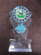 Team Lot Of 10 blue soccer insert trophy award tall flame acrylic