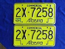 LICENSE PLATE ALBERTA 1984 COMMERCIAL 2X 7258  PAIR SETCANADA SHOP SIGN DECOR